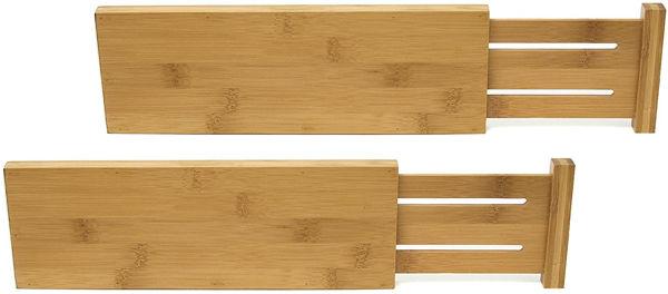 Picture of Bamboo Wood Custom Fit Adjustable Dresser Drawer Dividers, Set of 2